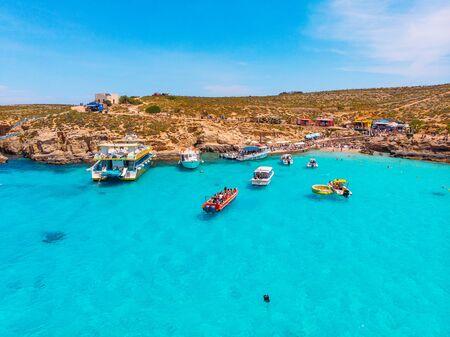 Comino, Malta - May 9, 2019: Panorama beach Blue Lagoon. Redakční