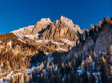 Sunrise in Dolomites mountains South Tyrol, Italy. Aerial top view. Zdjęcie Seryjne
