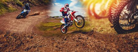 Banner rider on mountain dirtbike enduro participates in motocross, jumps on springboard against background dirt. Concept extreme action sport racing.