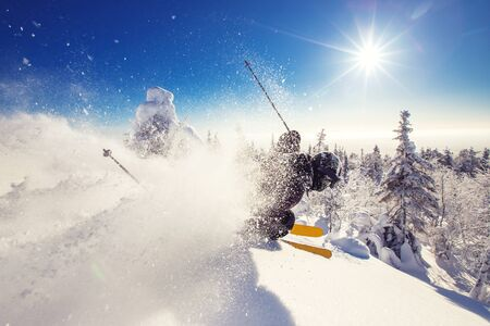 Skier skiing downhill during sunny day in mountains and forest. Extreme winter sports Banque d'images - 132320332