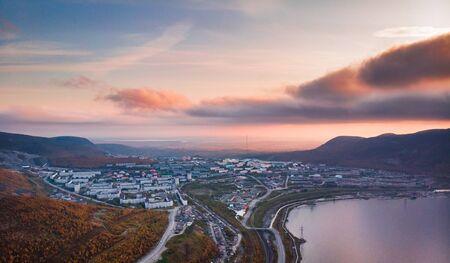 Sunset in Kirovsk mountains Khibiny Kola Peninsula, Russia. Aerial view