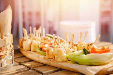 Catering service. Restaurant food table with snack delicious dining
