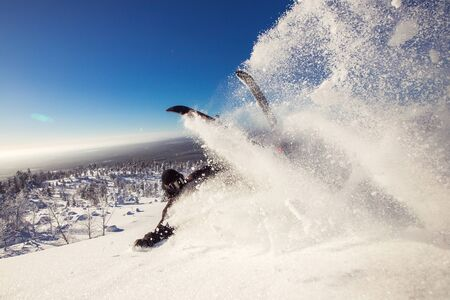 Skier falls in snow, gets fracture and injury. High speed, frosty dust spreading