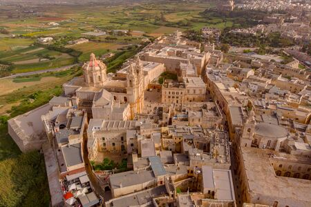 Old castle Mdina cathedral city, Malta. Aerial top view.