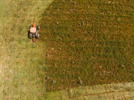 Tractor removes green grass from field, concept of harvesting silage and hay for cows. Aerial top view.