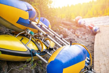 Color kayaks for rafting on tropical mountain river