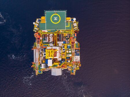 Offshore oil rig for installation sea for repairs, aerial top view