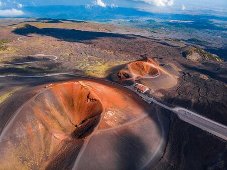 Extinct crater of volcano Etna Sicily, Italy. Panoramic aerial photo. Top view