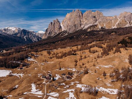 Sunrise in Dolomites mountains South Tyrol, Italy. Aerial top view. Stock fotó