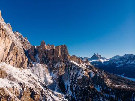 Sunrise in Dolomites mountains South Tyrol, Italy. Aerial top view Stock fotó