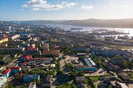 Murmansk, Russia - Aerial view panorama of city and northern port Kola Peninsula