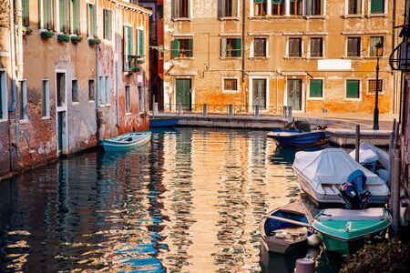 Venice, Italy Parked boats, gondolas transport movement on Grand Canal
