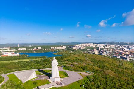 Murmansk, Russia - Aerial view panorama of city monument Defenders of Soviet Arctic Alyosha