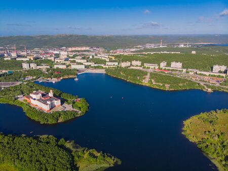 Murmansk, Russia - Aerial view panorama of city holiday park with Semonovskoye lake