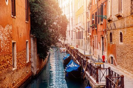 Parked boats, gondolas transport movement Grand Canal Venice, Italy. 写真素材