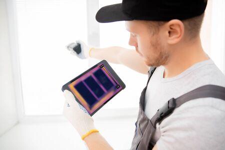 Master test upvc window thermal image of heat leak through