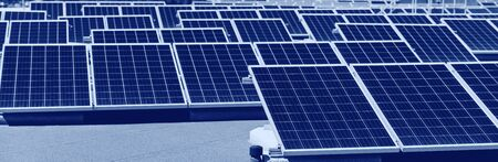 Set of solar panels mounted on roof of building. Renewable energy eco concept Stock fotó - 133238143