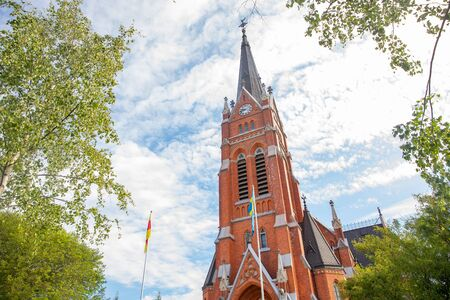 Lulea, Sweden Panorama city, Cathedral sunny day, blue sky Standard-Bild