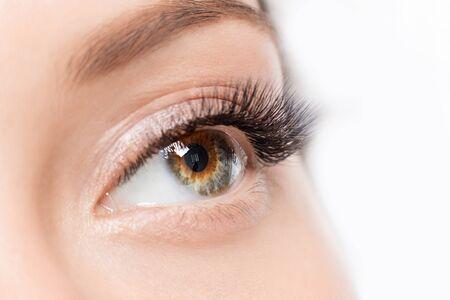 Procedimiento de extensión de pestañas. Hermosos ojos femeninos con primer plano de maquillaje de pestañas largas