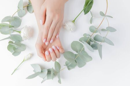 Stylish plain female hand manicure gel polish on white flower background eucalyptus, top view. Concept natural organic skin care Stock fotó