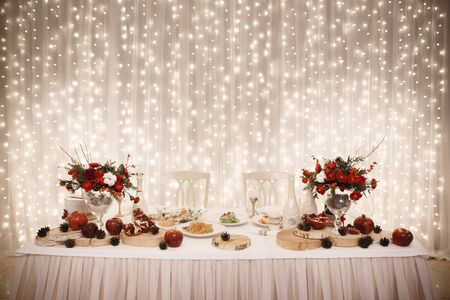 Wedding decor, tables with food, catering,