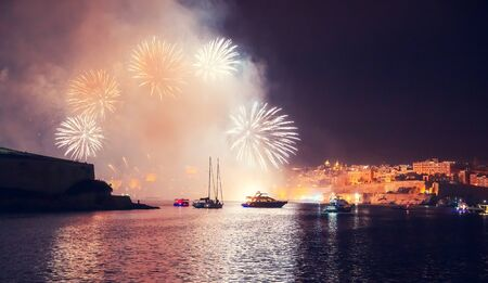 Malta Valletta night Festival of fireworks. Travel concept