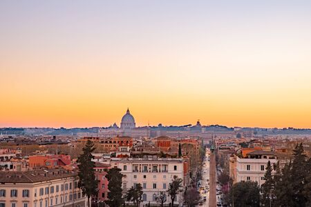 View of sunset city Rome from Castel Sant Angelo, Saint Peters Square in Vatican.