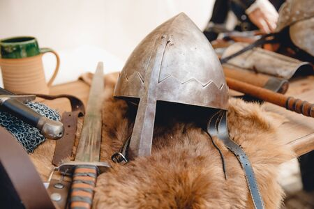 Exhibition of ancient armor, weapons, helmets from Viking steel Mdina Malta