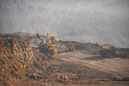 Open gold, diamonds, coal mine. Heavy machinery for mining quarries.