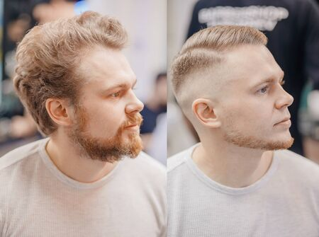 Before and after Man in barber chair, hairdresser styling in barbershop Standard-Bild