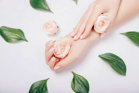 Beautiful stylish trendy female pink manicure with flower on background, top view. Concept beauty.