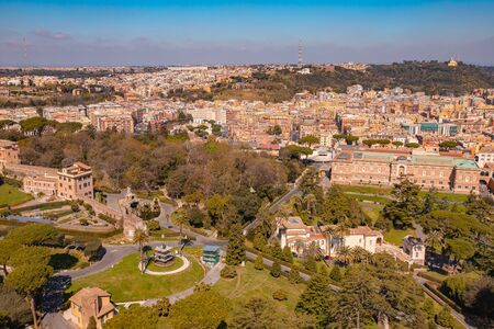 Panoramic view of old aerial city Rome from Saint Peters Square in Vatican