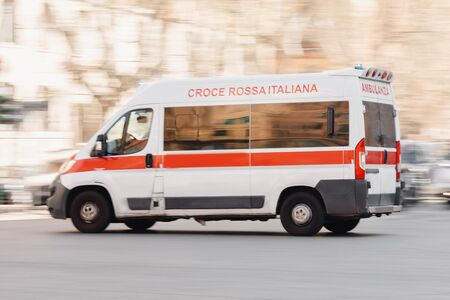 Quarantine Roma Italy emergency move car save patient from coronavirus covid. Inscription Ambulanza on ambulance