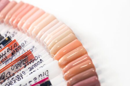 Set color shades of pink and beige samplers of fake nails for choosing manicure and gel polish.