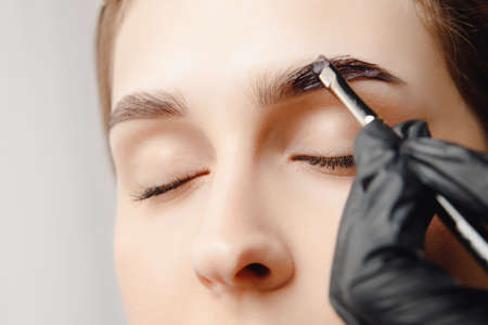 Eyebrow tint, master correction of brow hair women Stock Photo