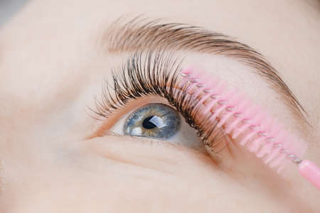 Eyelash extension procedure. Beautiful female eyes with long lashes, closeup Фото со стока - 154753997