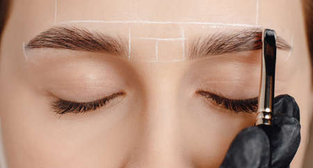Correction and tint of eyebrows, master applies brush to woman marking on brow
