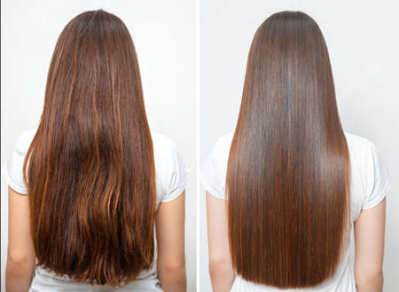 Sick, cut and healthy hair care straightening. Before and after treatment