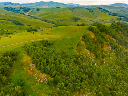 Hills and mountains Altai republic Russia, aerial top view Stockfoto