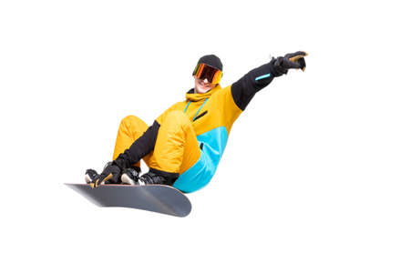 Man snowboarder jump on snowboard in sportswear isolated white background