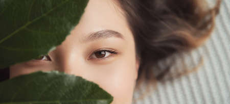 Banner cosmetology and facial skin care. Close-up eyes of Asian girl with green leaf natural cosmetics