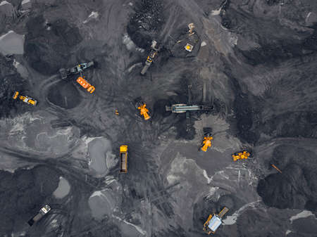 Open pit mine, extractive industry for coal, top view aerial