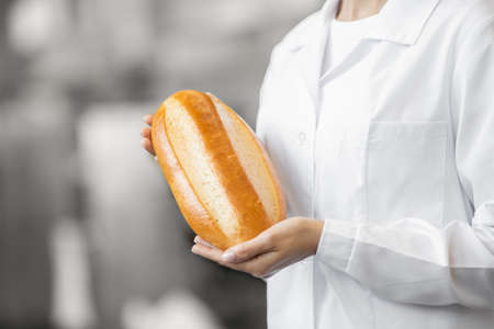 Close-up worker baker in apron holding hot baguette bread on background of automated production line 版權商用圖片