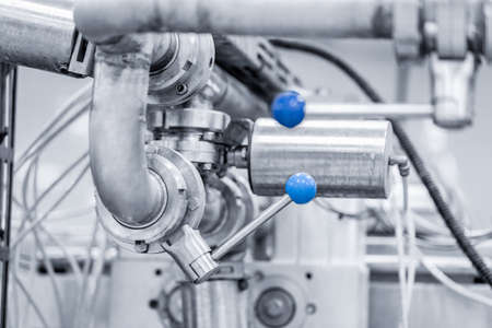 Industrial automation factory food equipment pipe stainless tubes 写真素材