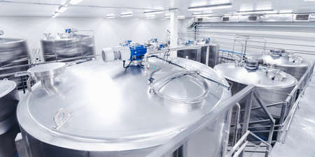 Beer factory industry. Equipment steel tanks for fermentation and maturation.
