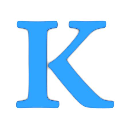 3d rendering of the letter K in blue on a white background Stock Photo