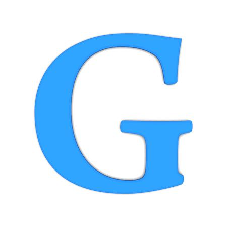 3d rendering of the letter G in blue on a white background