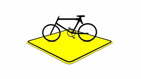 yellow road sign 3D rendering