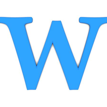 3d rendering of the letter W in blue on a white background
