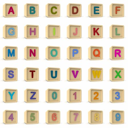 font, big colorful letters standing. 3D rendering Stock Photo
